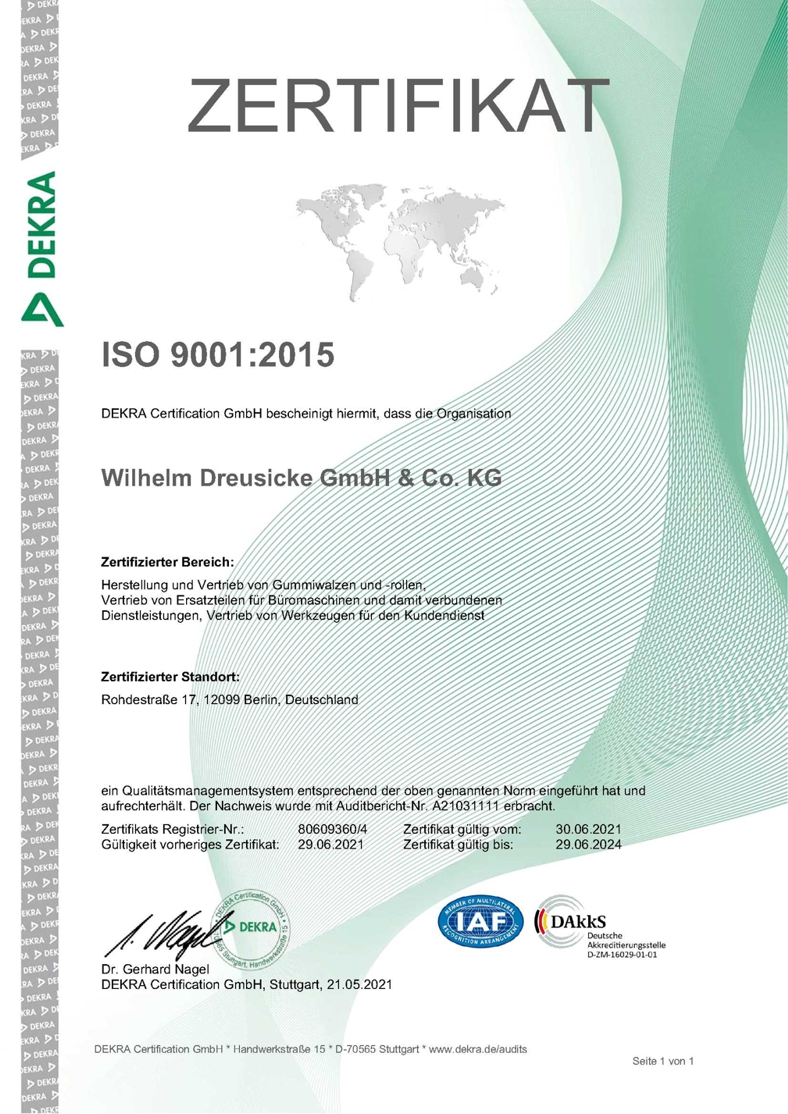 Dreusicke Certification ISO 9001